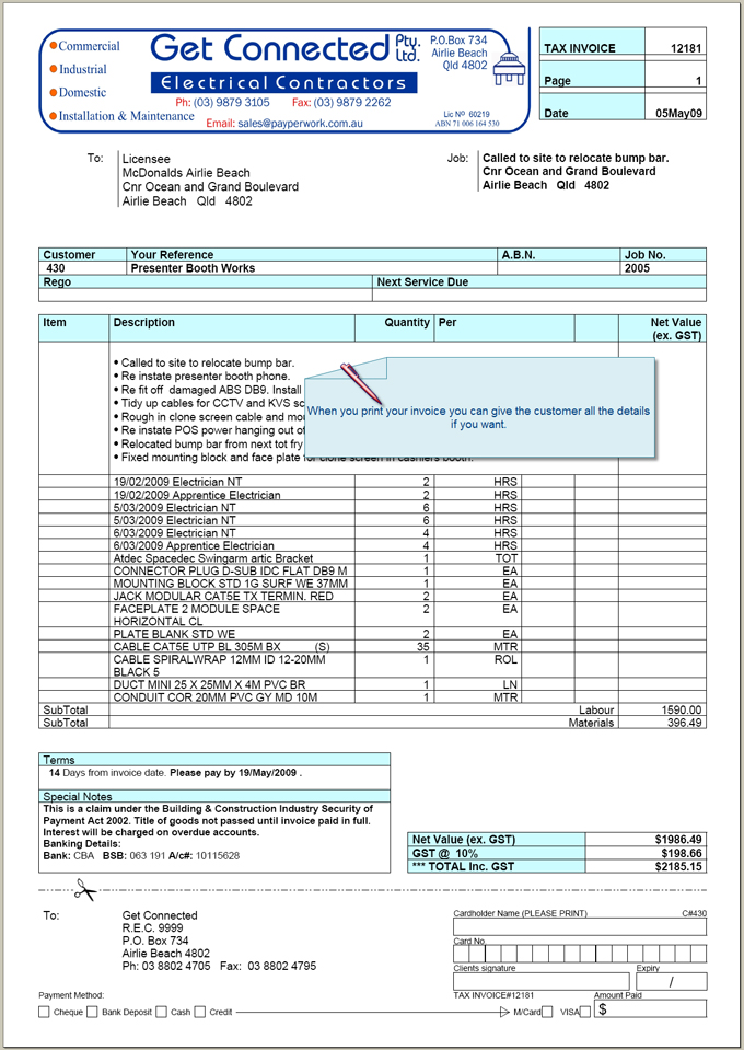 Payperwork Comprehensive Plumbing Electrical Contractors – Electrician Invoice Template
